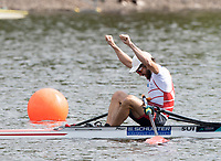 Glasgow, Scotland, Sunday, 5th  August 2018, Final Lightweight Men's Single Sculls, Gold Medalist, SUI LM1X, Michael SCHMID, European Games, Rowing, Strathclyde Park, North Lanarkshire, © Peter SPURRIER/Alamy Live News