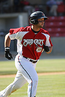 Yonder Alonzo #19 of the Carolina Mudcats running to 1st base during a game against the Chattanooga Lookouts on on May 9, 2010 in Zebulon, NC.