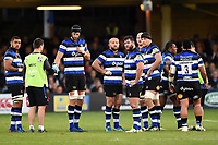 Bath Rugby players look on during a break in play. Aviva Premiership match, between Bath Rugby and Gloucester Rugby on October 29, 2017 at the Recreation Ground in Bath, England. Photo by: Patrick Khachfe / Onside Images