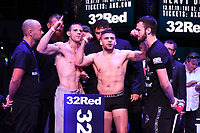Tommy Broadbent (L) and Florian Marku during a Weigh In at the BT Studios, Queen Elizabeth Olympic Park on 12th July 2019
