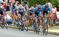 Discovery Channel Pro Cycling Team's Egoi Martinez (right) leads teammate Yaroslav Popovich, Health Net's Karl Menzies, Davitamon-Lotto's Fred Rodriguez, Toyota-United Pro's Juan Jos&eacute; Haedo, and Navigators Insurance Team's Cesar Grajales to &quot;Clocktower Hill&quot; during Stage 2 of the 2006 Ford Tour de Georgia pro cycling race. Popovych won the 116.1-mile stage from Fayetteville to Rome in 4:47:39.<br />