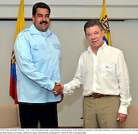 CARTAGENA  -COLOMBIA, 1-AGOSTO-2014.  Visita oficial del presidente de Venezuela  Nicolas Maduro a Colombia , encuentro con el presidente de Colombia Juan Manuel Santos . / Official visit of President Nicolas Maduro of Venezuela to Colombia, meeting with President of Colombia Juan Manuel Santos . Photo:VizzorImage / Andres Piscov / SIG
