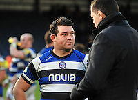 Man of the Match Nathan Catt is interviewed by BT Sport after the final whistle. Aviva Premiership match, between London Wasps and Bath Rugby on November 24, 2013 at Adams Park in High Wycombe, England. Photo by: Patrick Khachfe / Onside Images