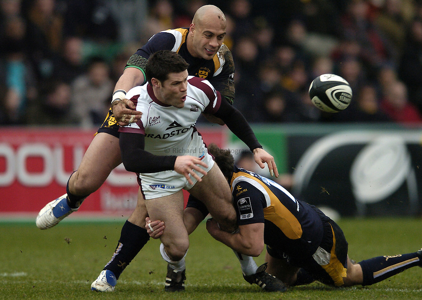 Photo: Jonathan Butler..Worcester Warriors v Leicester Tigers. Guinness Premiership. 17/02/2007..Dan Hipkiss of Leicester Tigers.