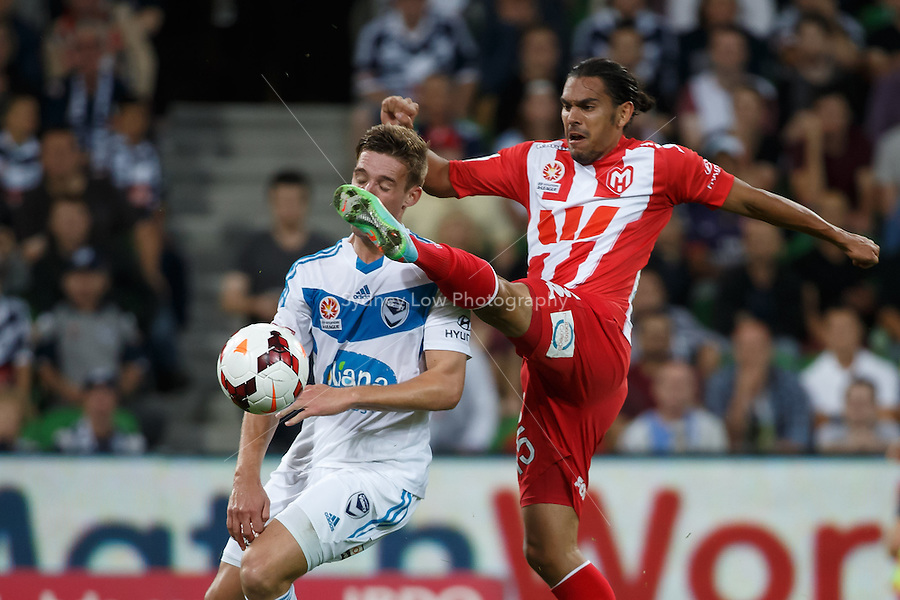 Nicholas ANSELL of the Victory and David WILLIAMS of the Heart fight for the ball in the round 21 match between Melbourne Heart and Melbourne Victory in the Australian Hyundai A-League 2013-24 season at AAMI Park, Melbourne, Australia. Photo Sydney Low/Zumapress<br /> <br /> This image is not for sale on this web site. Please visit zumapress.com for licensing