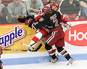 Kaleigh Fratkin (BU - 13), Josephine Pucci (Harvard - 2) - The Boston University Terriers defeated the Harvard University Crimson 5-2 on Monday, January 31, 2012, in the opening round of the 2012 Women's Beanpot at Walter Brown Arena in Boston, Massachusetts.