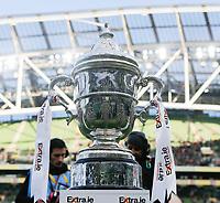 3rd November 2019; Aviva Stadium, Dublin, Leinster, Ireland; FAI Cup Final Football, Dundalk Football Club versus Shamrock Rovers; The FAI first place trophy on display prior to kickoff - Editorial Use