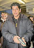 "Barakat Jassem of Baghdad, Iraq, who is a student at Dartmouth University in the United States, meets reporters after casting his ballot in the Iraqi election in New Carollton, Maryland on January 28, 2005.  Jassem is a Shiite Muslim from Baghdad who used to work at a Television station owned by Uday Hussein, son of Saddam Hussein.  Jassem said he spent 13 days in Uday's dreaded torture chambers  in November, 2002. He was one of three technicians on duty one night when a defective videotape of an American movie was sent to Uday.  He was regularly beaten with plastic pipes and electrical cables for his ""crime"". .Credit: Ron Sachs , CNP..(RESTRICTION: NO New York or New Jersey Newspapers or newspapers within a 75 mile radius of New York City)"