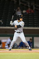 Salt River Rafters shortstop Bryson Brigman (15), of the Miami Marlins organization, at bat during an Arizona Fall League game against the Mesa Solar Sox at Sloan Park on October 16, 2018 in Mesa, Arizona. Salt River defeated Mesa 2-1. (Zachary Lucy/Four Seam Images)