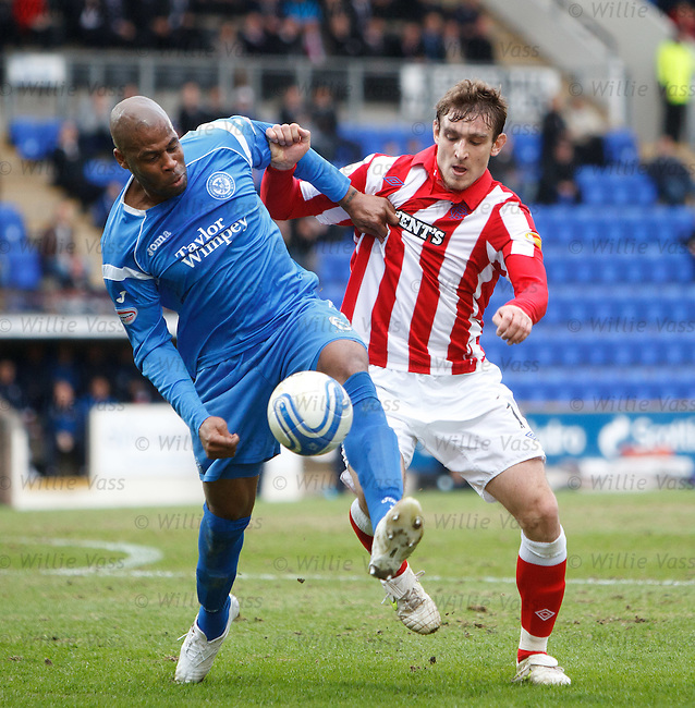 Michael Duberry gets a handful of Nikica Jelavic's shirt in the box