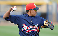 11 April 2008: Infielder Kala Ka'aihue (20) of the Mississippi Braves, Class AA affiliate of the Atlanta Braves, in a game against the Mobile BayBears at Trustmark Park in Pearl, Miss. Photo by:  Tom Priddy/Four Seam Images