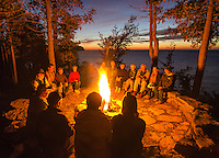 A campfire around a Council Ring is a common occurance at the Clearing, a folk school in the arts and humanities in Ellison Bay, Door County, Wisconsin.
