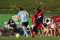 Piscataway, NJ - Saturday July 23, 2016: Erin Simon, Cheyna Williams during a regular season National Women's Soccer League (NWSL) match between Sky Blue FC and the Washington Spirit at Yurcak Field.
