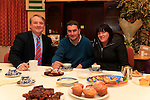 Brian Collins Donald and Linda Murphy at the Coffee Morning and cake sale in aid of Termonfeckin school organised by parents committee<br /> Picture: Fran Caffrey www.newsfile.ie