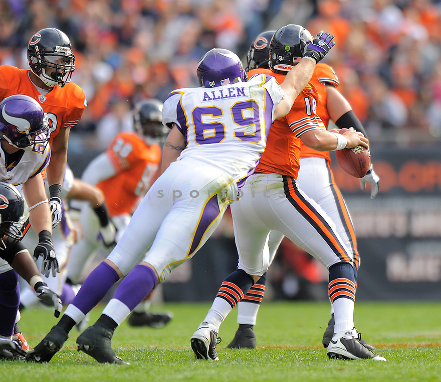 JARED ALLEN, of the Minnesota Vikings  in action against the Chicago Bears during the Vikings game in Chicago, IL  on October 19, 2008... The Buccaneers won the game 48-41