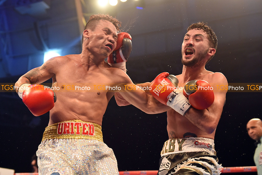 Andrew Selby (black/white shorts) defeats Ardin Diale during a Boxing Show at Olympia on 4th February 2017