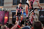 Defending Champion Tom Dumoulin (NED) Team Sunweb arrives on stage at the Team Presentation before the 101st edition of the Giro d'Italia 2018. Jerusalem, Israel. 3rd May 2018.<br /> Picture: LaPresse/Gian Mattia D'Alberto | Cyclefile<br /> <br /> <br /> All photos usage must carry mandatory copyright credit (&copy; Cyclefile | LaPresse/Gian Mattia D'Alberto)
