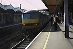 Train arriving at platform, Ipswich railway station, Suffolk, England