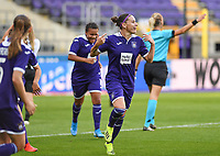 20190807 - ANDERLECHT, BELGIUM : Anderlecht's Laura Roxana Rus pictured celebrating her goal during the female soccer game between the Belgian RSCA Ladies – Royal Sporting Club Anderlecht Dames  and the Greek FC PAOK Thessaloniki ladies , the first game for both teams in the Uefa Womens Champions League Qualifying round in group 8 , Wednesday 7 th August 2019 at the Lotto Park Stadium in Anderlecht  , Belgium  .  PHOTO SPORTPIX.BE | DAVID CATRY