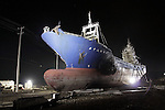 March 11, 2012, Kesennuma, Japan - The 330 ton fishing vessel Kyotoku-Maru No. 18, which was flung 800 meters inland from a port by the last year's tsunami, still lying in the same spot in a devastated residential neighborhood in Kesennuma, Miyagi Prefecture, northeastern Japan on Sunday, March 11 2012. Japan has marked the first anniversary of the massive earthquake and tsunami that struck the north-eastern coast and left more than 19000 people dead or missing. (Photo by AFLO) [1200] -ty-