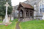 17th Century wooden porch church of Saint Mary, Boxford, Suffolk, England, UK