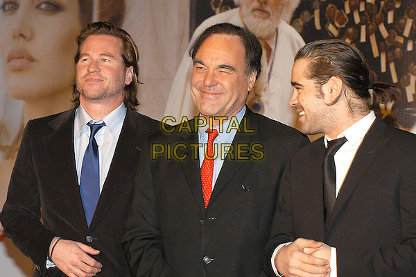 "VAL KILMER, OLIVER STONE & COLIN FARRELL.Italian premiere of ""Alexander"",.Warner Village, Rome, Italy, January 11th 2005.                          .half length.Ref: LC.www.capitalpictures.com.sales@capitalpictures.com.©Luca Cavallari/Capital Pictures ."