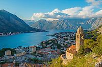 Belltower and view of Kotor along St. Giovanni Trail, Kotor, Montenegro  Mediterraean Sea