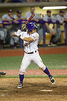 LSU Tigers second baseman Jared Foster (17) at bat during a Southeastern Conference baseball game against the Texas A&M Aggies on April 23, 2015 at Alex Box Stadium in Baton Rouge, Louisiana. LSU defeated Texas A&M 4-3. (Andrew Woolley/Four Seam Images)