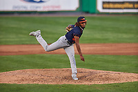 Bowling Green Hot Rods relief pitcher Miguel Lara (40) during a Midwest League game against the Peoria Chiefs at Dozer Park on May 5, 2019 in Peoria, Illinois. Peoria defeated Bowling Green 11-3. (Zachary Lucy/Four Seam Images)