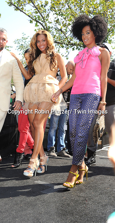 Beyonce and Solange Knowles attending Mercedes-Benz Fashion Week Spring 2011 Fashion Shows on September 13, 2011 in Lincoln Center in New York City. .