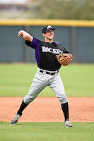 Colorado Rockies third baseman Kevin Padlo (43) during an Instructional League game against the Arizona Diamondbacks on October 8, 2014 at Salt River Fields at Talking Stick in Scottsdale, Arizona.  (Mike Janes/Four Seam Images)