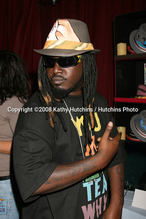 T Pain trying on a Grace Hat at the BET Awards GBK Gifting Lounge outside the Shrine Auditorium in Los Angeles, CA on.June 22, 2008.©2008 Kathy Hutchins / Hutchins Photo .