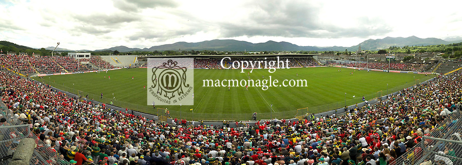 A panoramic view of Fitzgerald Stadium, Killarney taken  at the start of the  Kerry V Cork Munster Football semi-final  on Sunday..Picture by Don MacMonagle