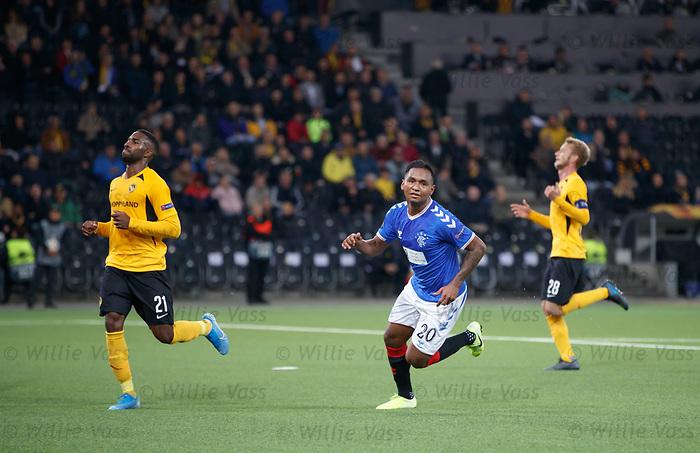 03.10.2019 Young Boys of Bern v Rangers: Alfredo Morelos celebrates his goal