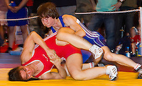 22 MAY 2010 - BIRMINGHAM, GBR - Rosemary Sexton (red) v Donna Robertson (blue) - 2010 English Senior Wrestling Championships .(PHOTO (C) NIGEL FARROW)