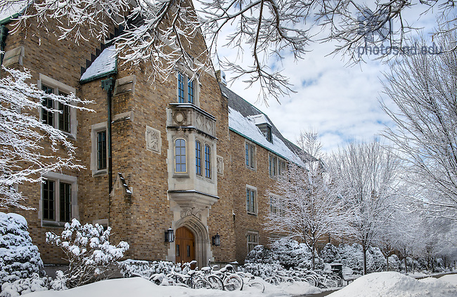 Mar. 12, 2014; Alunmi Hall north entrance in winter.<br /> <br /> Photo by Matt Cashore/University of Notre Dame