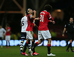 Angel Di Maria of Manchester United advises Marouane Fellaini of Manchester United to tilt his head back to stop his nose bleed - FA Cup Fifth Round - Preston North End  vs Manchester Utd  - Deepdale Stadium - Preston - England - 16th February 2015 - Picture Simon Bellis/Sportimage