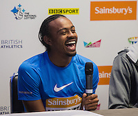 Aries Merritt of USA (110M Hurdles) during Pre Event Press Conference at Grange Tower Bridge Hotel, Prescott Street, The Sainsbury's Anniversary Games Diamond League Event. London, England on 23 July 2015. Photo by Andy Rowland.