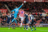 11th January 2020; Bet365 Stadium, Stoke, Staffordshire, England; English Championship Football, Stoke City versus Milwall FC; Goalkeeper Bartosz Bialkowski of Millwall thumps the ball clear - Strictly Editorial Use Only. No use with unauthorized audio, video, data, fixture lists, club/league logos or 'live' services. Online in-match use limited to 120 images, no video emulation. No use in betting, games or single club/league/player publications