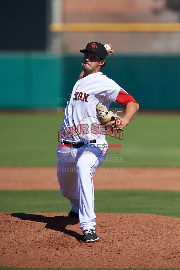 Scottsdale Scorpions pitcher Chandler Shepherd (37) delivers a pitch during an Arizona Fall League game against the Surprise Saguaros on October 22, 2015 at Scottsdale Stadium in Scottsdale, Arizona.  Surprise defeated Scottsdale 7-6.  (Mike Janes/Four Seam Images)