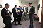 Nevada Assemblyman Stephen Silberkraus, R-Las Vegas, right, and lobbyists check their phones during a break in the special session at the Nevada Legislature in Carson City, Nev. on Tuesday, Oct. 11, 2016. <br /> Photo by Cathleen Allison