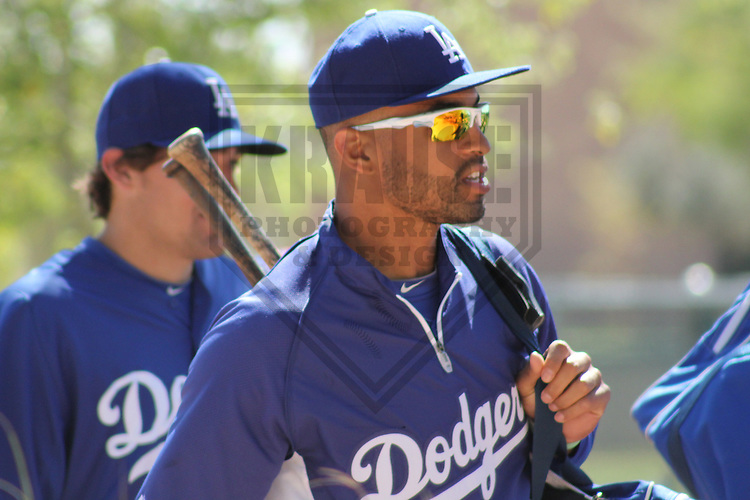 PHOENIX - March 2012: Matt Kemp (27) of the Los Angeles Dodgers during a Spring Training practice on March 20, 2012 at Camelback Ranch in Phoenix, Arizona. (Photo by Brad Krause).