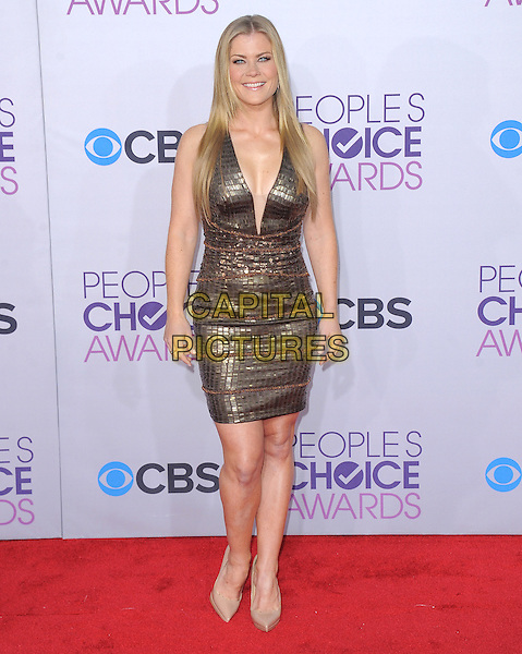 Alison Sweeney.The 2013 People's Choice Awards held at Nokia Live in Los Angeles, California 9th January 2013                                                                   .full length dress gold plunging neckline beige shoes sleeveless  .CAP/DVS.©DVS/Capital Pictures.
