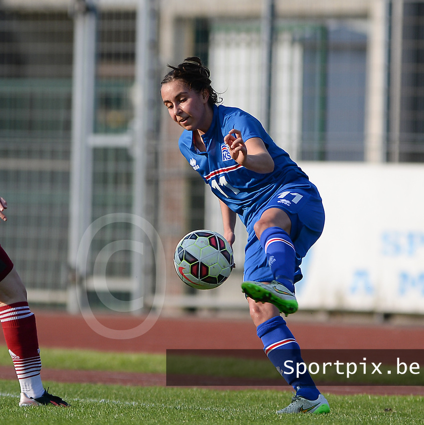 20150406 - MELUN , FRANCE  : Icelandic Arna Dis Arnthorsdottir  pictured during the soccer match between Women Under 19 teams of Iceland and Russia , on the second matchday in group 3 of the UEFA Elite Round Women Under 19 at Stade Municipal , Melun , France . Monday 6th April 2015 . PHOTO DAVID CATRY