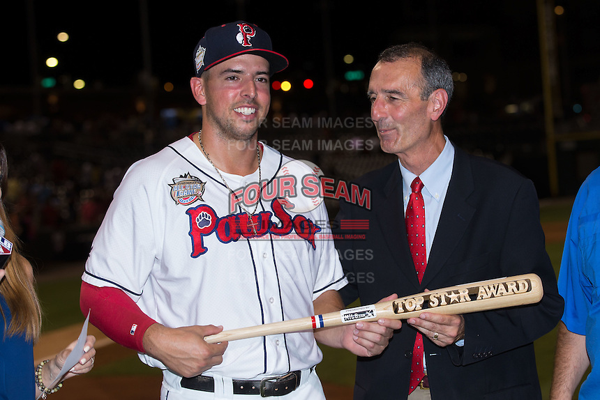 Chris Marrero (left) of the Pawtucket Red Sox is presented with the Top Star Award from International League President Randy Mobley at the 29th Annual Triple-A All-Star Game at BB&T BallPark on July 13, 2016 in Charlotte, North Carolina.  The International League defeated the Pacific Coast League 4-2.   (Brian Westerholt/Four Seam Images)