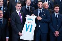 King Felipe VI of Spain with Real Madrid Basketball Team.
