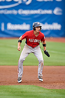 Potomac Nationals shortstop Carter Kieboom (5) leads off first base during the first game of a doubleheader against the Salem Red Sox on June 11, 2018 at Haley Toyota Field in Salem, Virginia.  Potomac defeated Salem 9-4.  (Mike Janes/Four Seam Images)