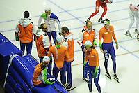 SCHAATSEN: HEERENVEEN: IJsstadion Thialf, 15-11-2012, World Cup Training, Seizoen 2012-2013, Kjeld Nuis, Jac Orie (trainer/coach Team BrandLoyalty/Activia), Bjarne Rykkje (assistent trainer Team Brand Loyalty/Activia), Diane Valkenburg, Gerard Kemkers (trainer/coach TVM Schaatsploeg), Sven Kramer, ©foto Martin de Jong
