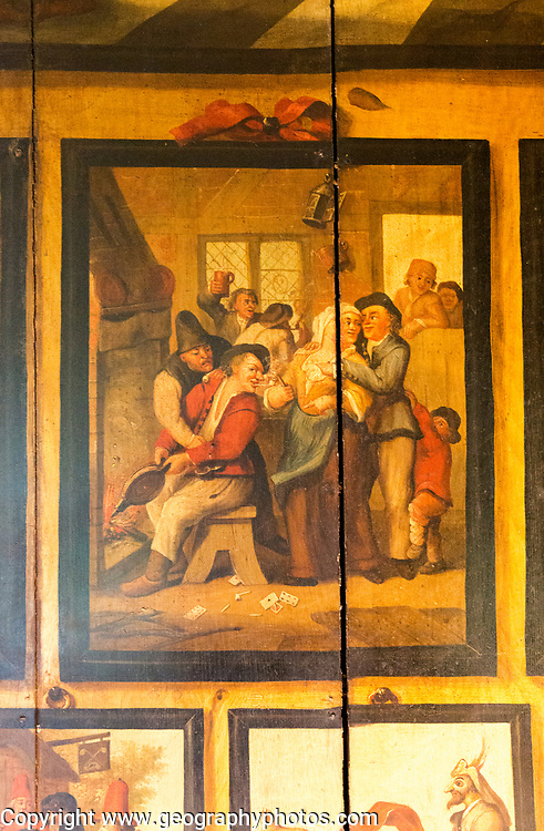 Painted panels The Dutch Parlour, Littlecote House Hotel, Hungerford, Berkshire, England, UK painted panels by Dutch prisoners of war 1660s