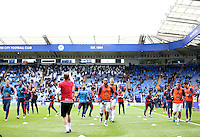 Swansea players warm up before the Barclays Premier League match between Leicester City and Swansea City played at The King Power Stadium, Leicester on April 24th 2016